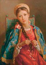 Вышивка крестом Боярышня, заплетающая косу