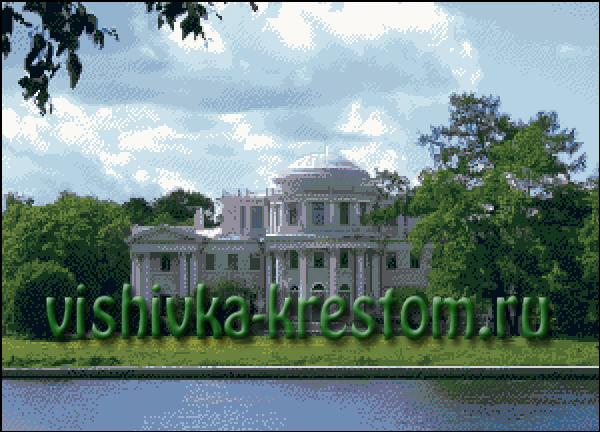 Схема вышивки одного из исторических мест Санкт-Петербурга.  Елагин дворец расположен на одноимённом острове.