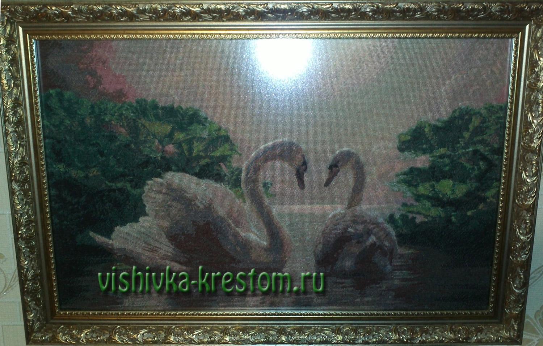 Вышивка крестом Два лебедя