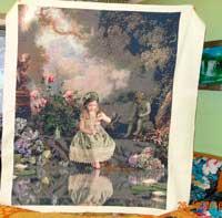 Вышитая картина Девочка у пруда
