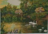 Вышитая картина Деревенский пейзаж