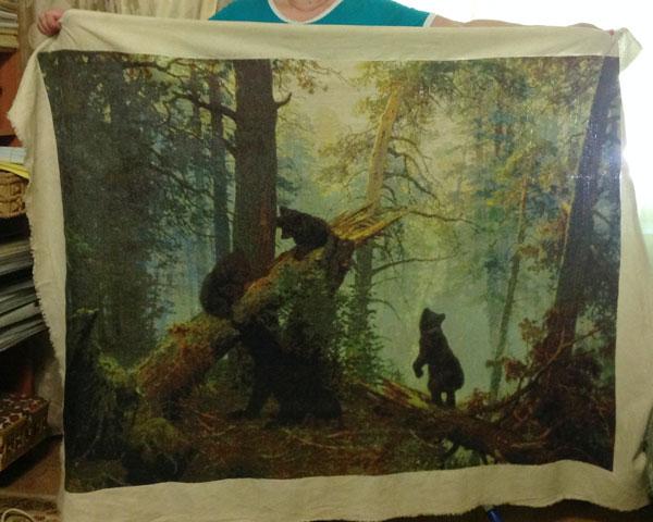 Готовая вышивка крестом Утро в сосновом лесу