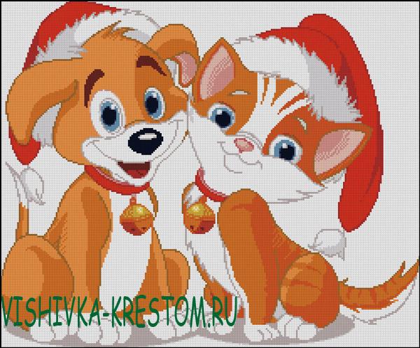 Вышивка крестом Кот и пес