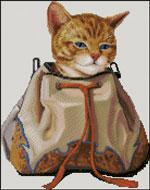 Вышивка крестом Кот в сумке
