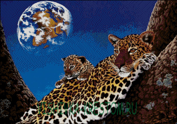 Вышивки крестиком леопард