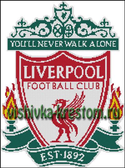 Схема для вышивки крестом: эмблема футбольного клуба Ливерпуль