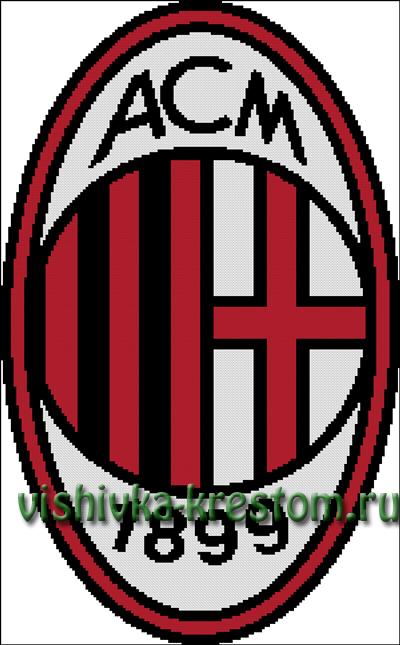 Схема для вышивки крестом: эмблема футбольного клуба Милан