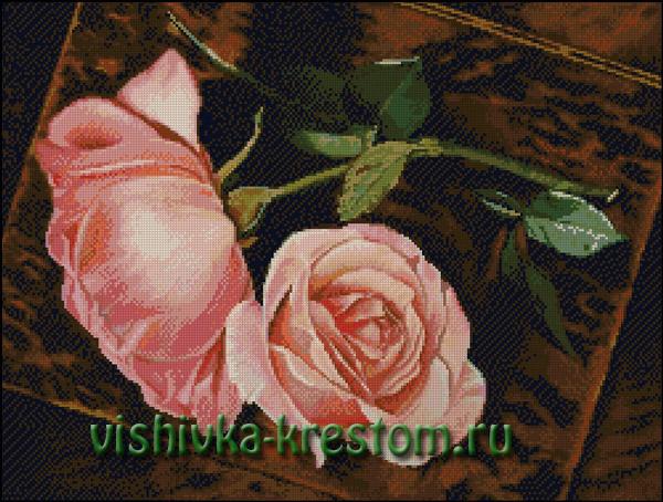 Вышивка крестом розы на окне