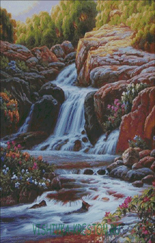 Вышивка лебеди и водопад