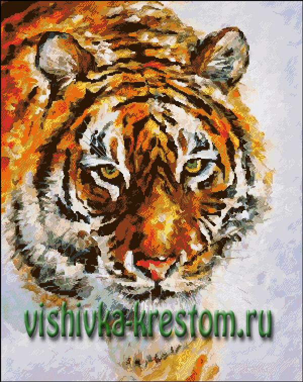 Разработана схема для вышивки крестом: Тигр.